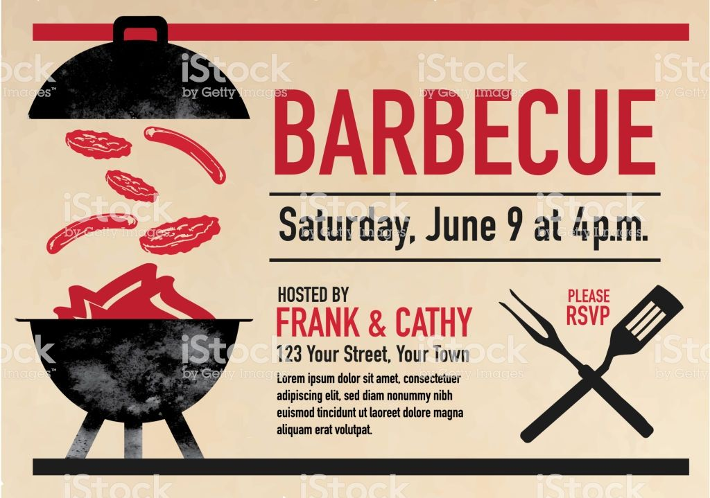 vector illustration of a barbecue cookout invitation design template