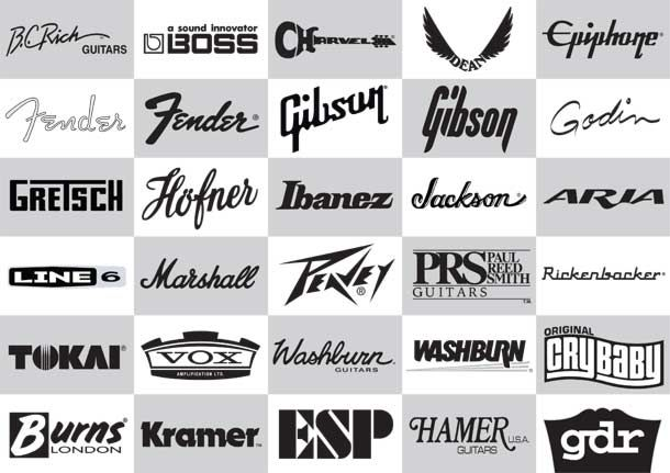 awesone collection of logos related to guitars guitar