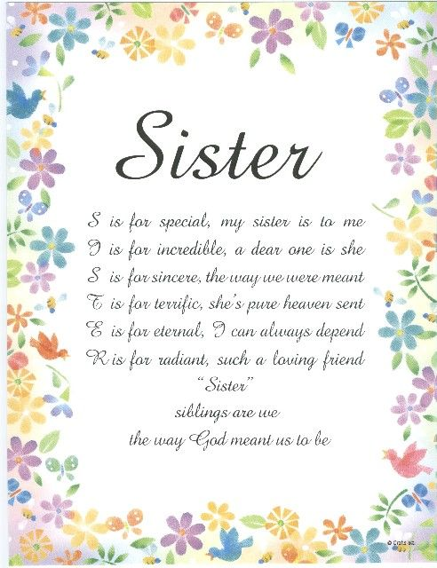 Sister Poems That Comes From The Heart If You Would Like To Call