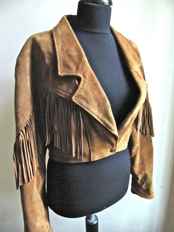 Brown Suede Fringe Cropped Western Jacket   Vintage for ...