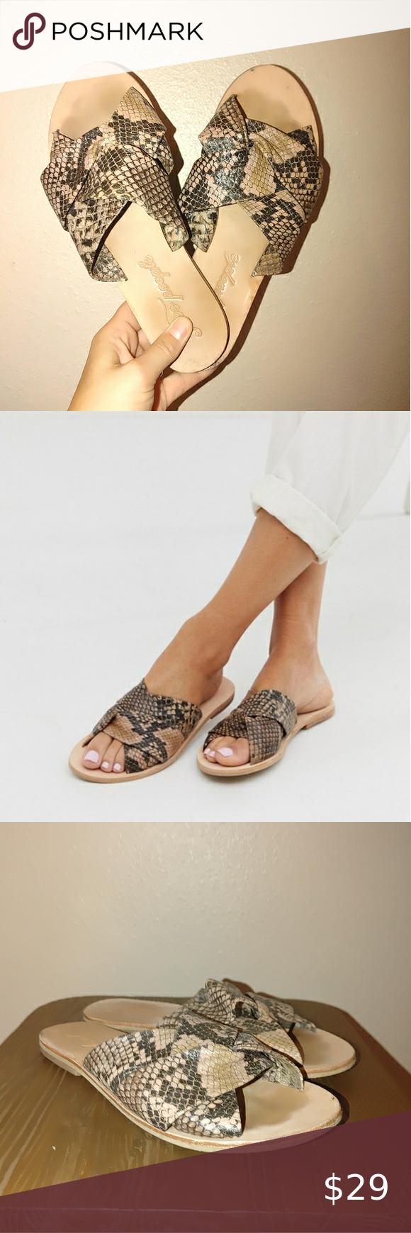 Free People Rio Vista Leather Snake Slide Sandal Slide Sandals Open Toe Flats Flat Shoes Women