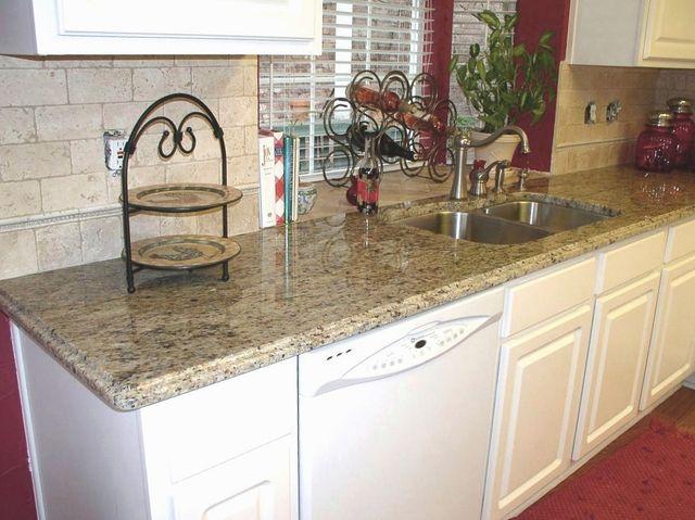Subway Tile Backsplash For Santa Cecilia Granite Countertops On