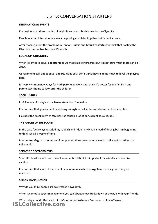 Trinity Gese Grade 10 Conversation Starters Vocabulario Ingles