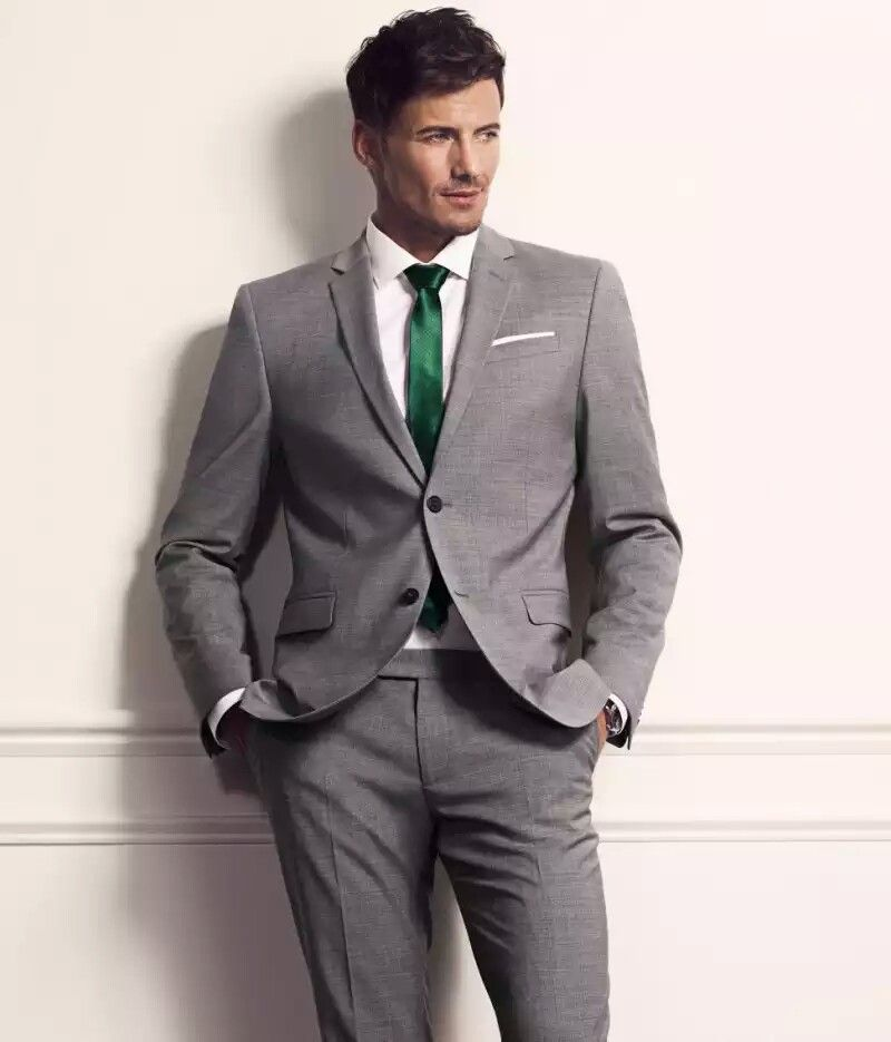 Light charcoal suit with emerald green skinny tie | wedding ideas ...