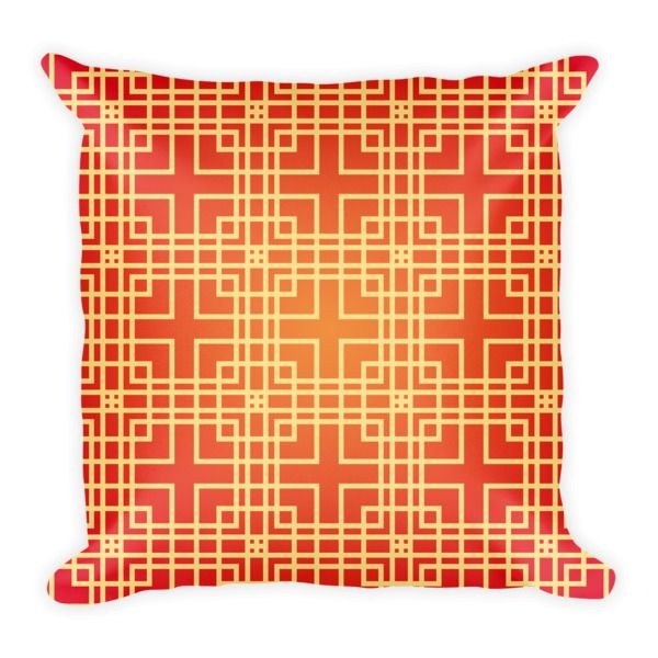 CHINESE GEOMETRIC PATTERN (RED, YELLOW) PILLOW