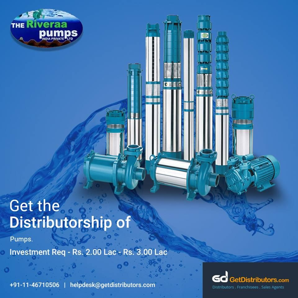 Get the distributorship of excellent quality Pumps like
