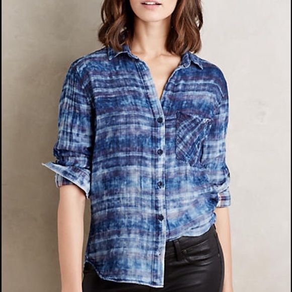 f66371171d4e7f Cloth   Stone Rockland Button Down Cloth   Stone. Distressed plaid button  down top. Anthropologie Tops Button Down Shirts