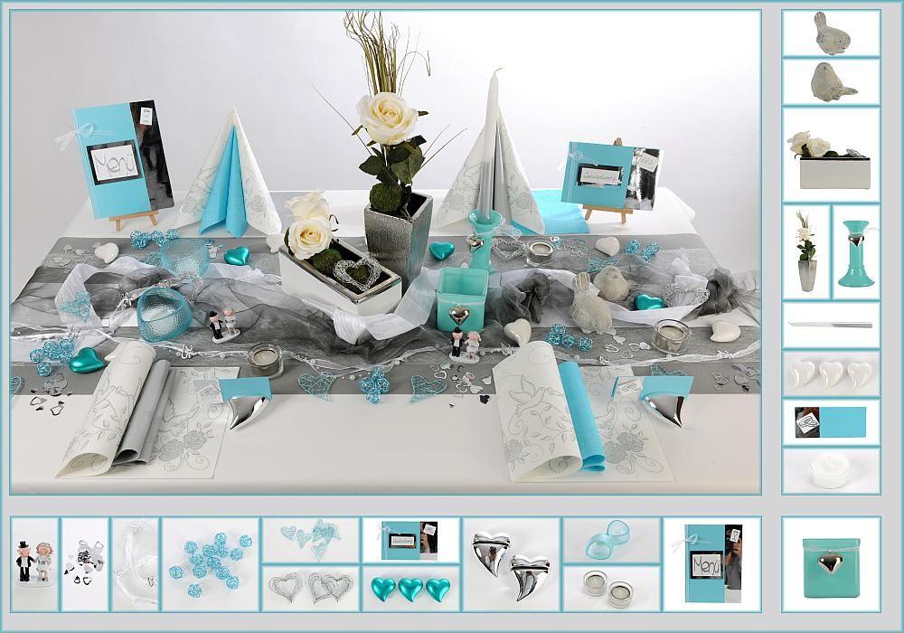 Tischdeko Silberne Hochzeit 11 In T Rkis Silber Als