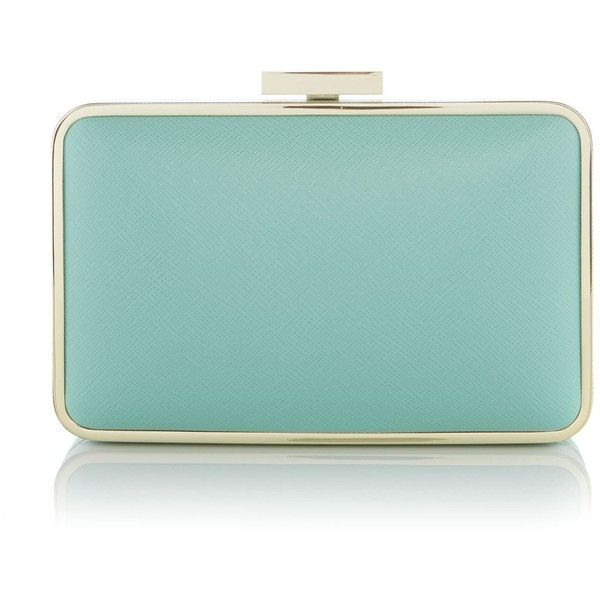 Olga Berg Mint Squared Clutch Bag (€79) ❤ liked on Polyvore