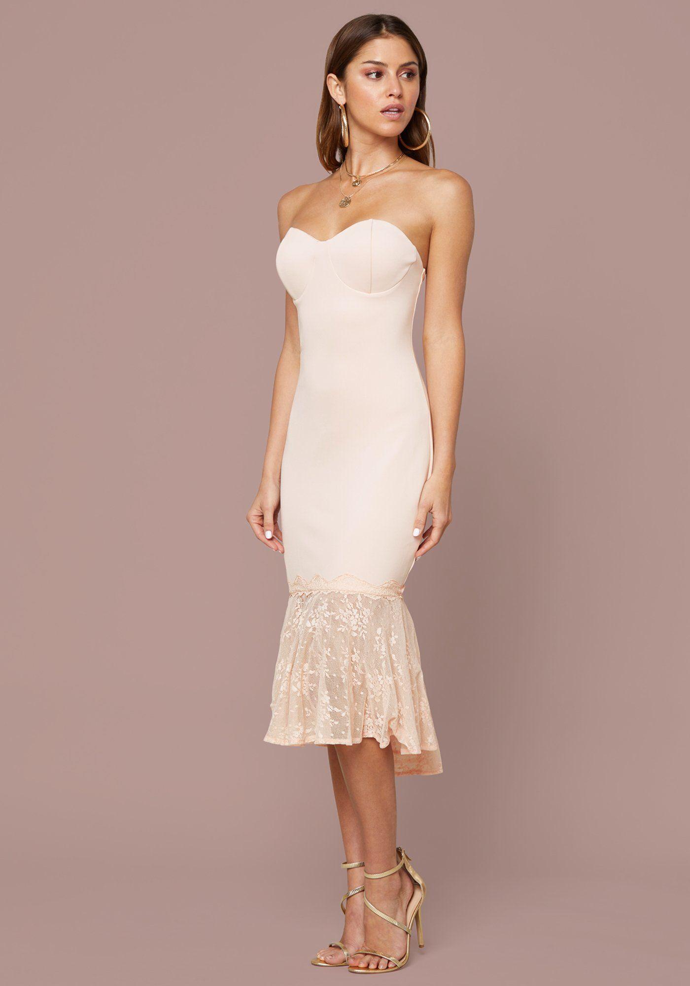 Scuba Strapless Midi Dress Bebe Dresses Sweetheart Strapless Dress Strapless Midi Dress [ 2000 x 1400 Pixel ]