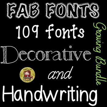 FONTS: HANDWRITING:DECORATIVE Whether you are a seller or a buyer, this 109 bundle of fab fonts will prove to be a fabulous buy!    https://www.teacherspayteachers.com/Product/FONTS-FOR-COMMERCIAL-USE-HANDWRITING-AND-DECORATIVE-GROWING-BUNDLE-1728189