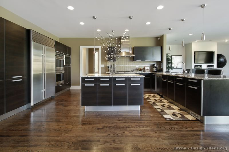 #Kitchen of the Day: A large modern kitchen with dark espresso cabinets.  Contemporary