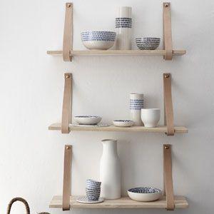 etag re murale en bois naturel h bsch avec lannieres en. Black Bedroom Furniture Sets. Home Design Ideas