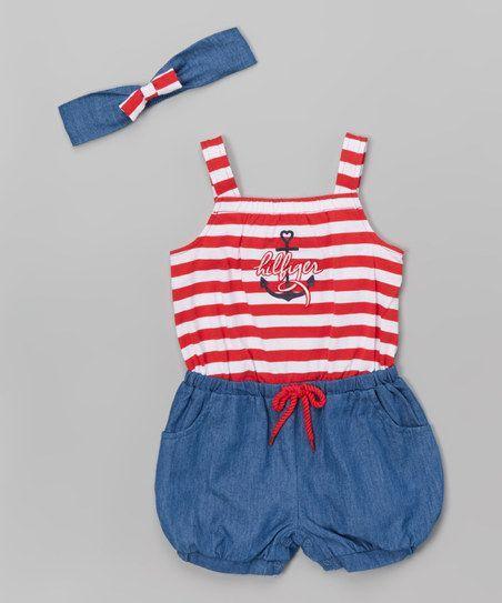 cb3f3a1cfb2c Tommy Hilfiger Red   Blue Stripe Romper   Headband - Infant   Toddler