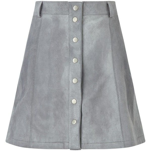 Numph Carla Suede Skirt, Silver (250 BRL) ❤ liked on Polyvore ...
