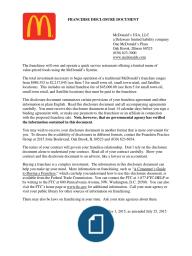 McdonaldS  Franchise Disclosure Document  Mcdonalds