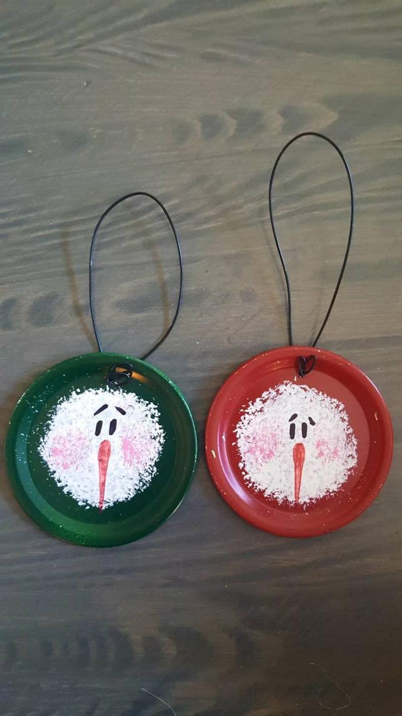 Hand painted mason jar lid snowman ornament Jar lid