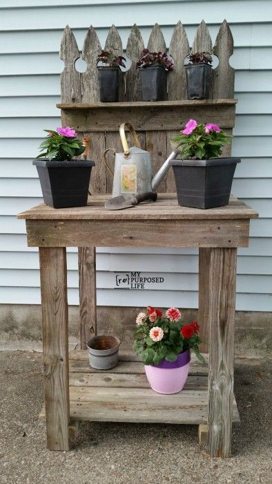 How to make your own reclaimed wood potting bench out of for Make your own fence