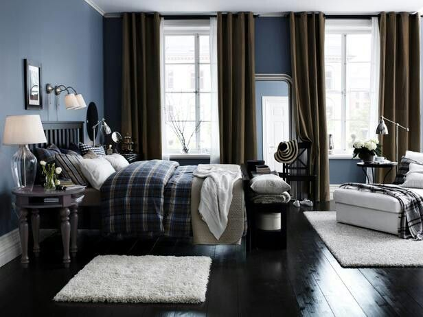 Male bedroom | Bedroom | Dark blue bedrooms, Blue bedroom ...