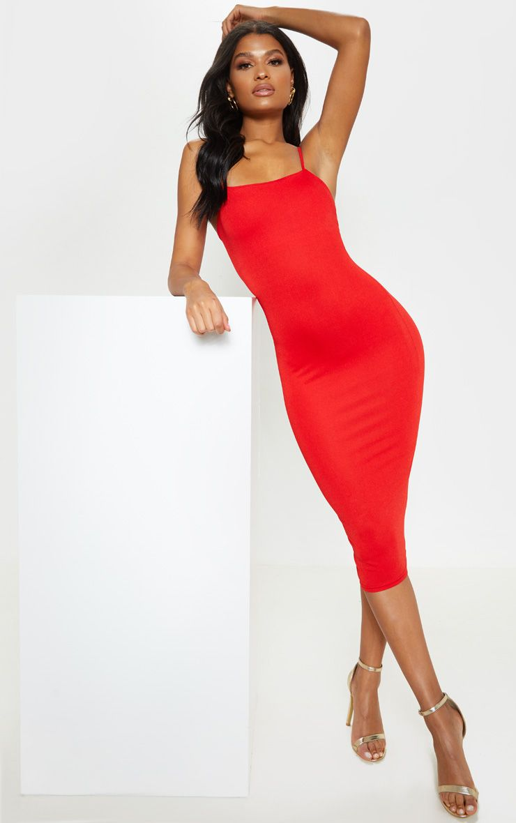 Red Strappy Midi Dress Mid Length Dresses Women Dress Online Going Out Dresses [ 1180 x 740 Pixel ]