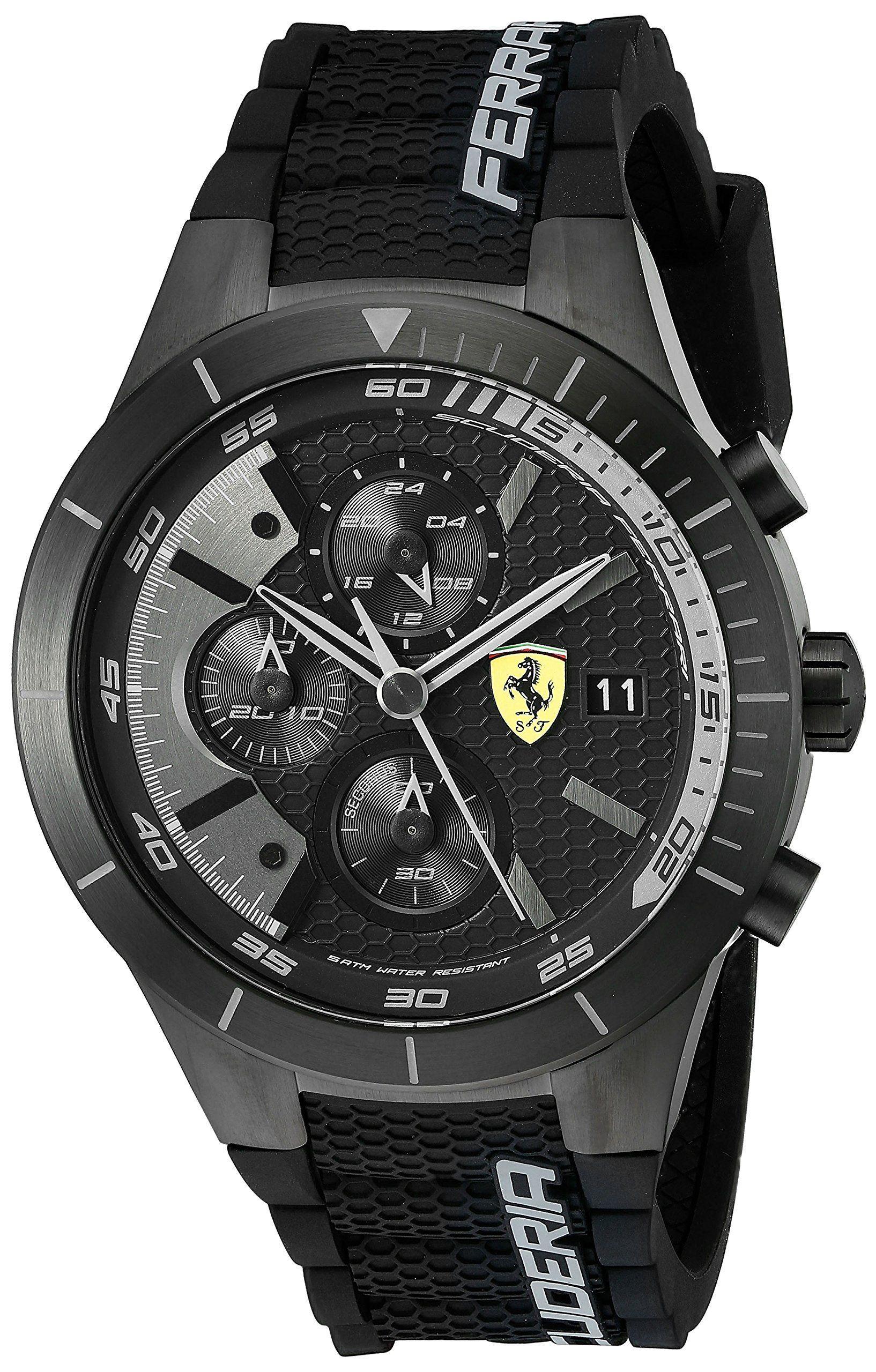 40aeaccf39e Ferrari Men s 0830262 REDREV EVO Analog Display Japanese Quartz Black Watch  Relógios Preto