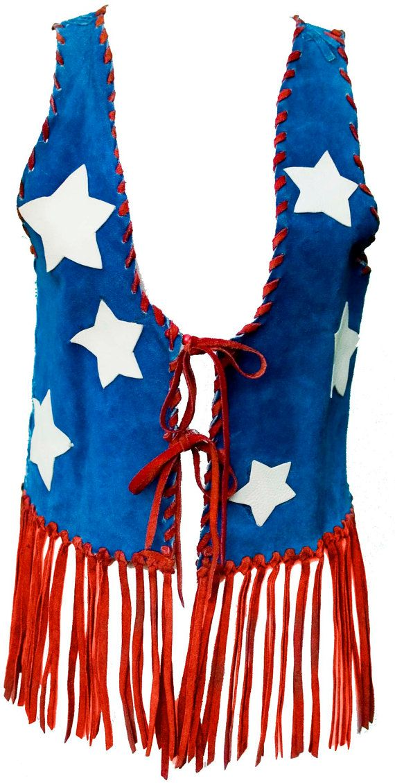 Description: Amazing 1960s Leather Vest in Red & Blue with Off-White Stars! Red Leather Zig Zag Edging, Cut out Off-White Stars, Red Fringes at