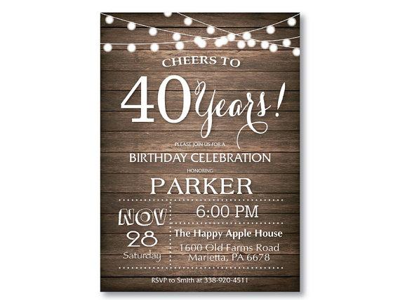 40th birthday invitation rustic 30th 50th 60th 70th 80th 90th any