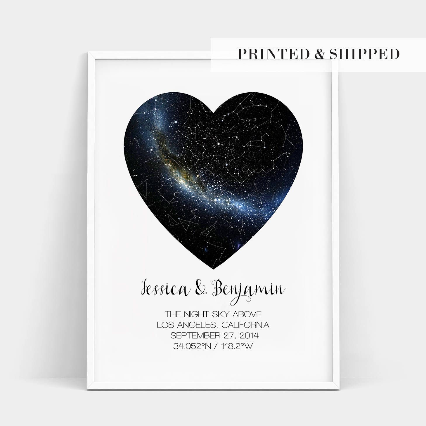Most Memorable Wedding Gifts: Heart Real Night Sky Print, Constellation Star Map, Custom