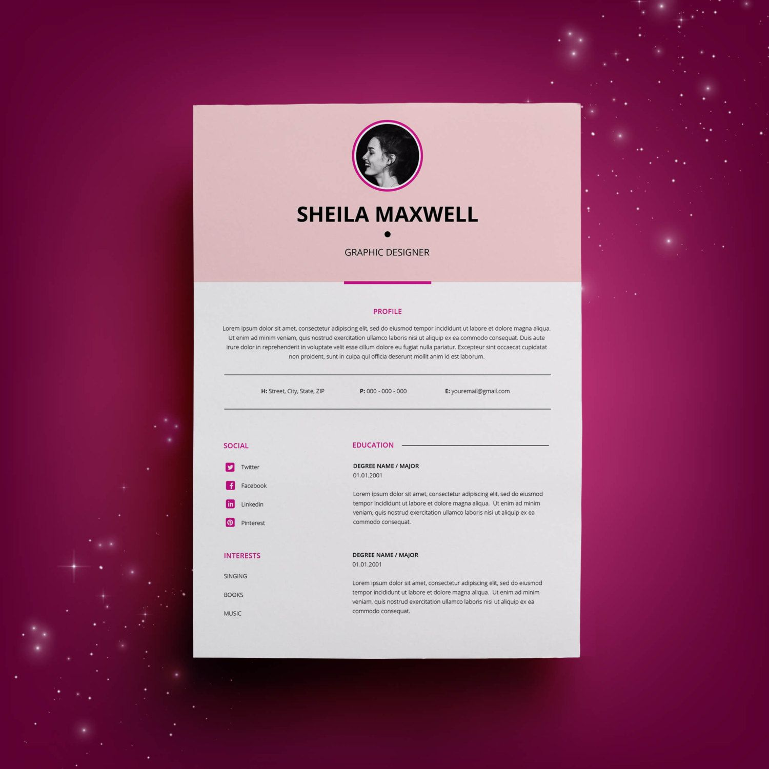 Cv Templates Design%0A Creative Resume Template  CV Template for MS Word  Professional Resume  Modern  Resume Design  Resume Instant Download  Buy One Get One Free