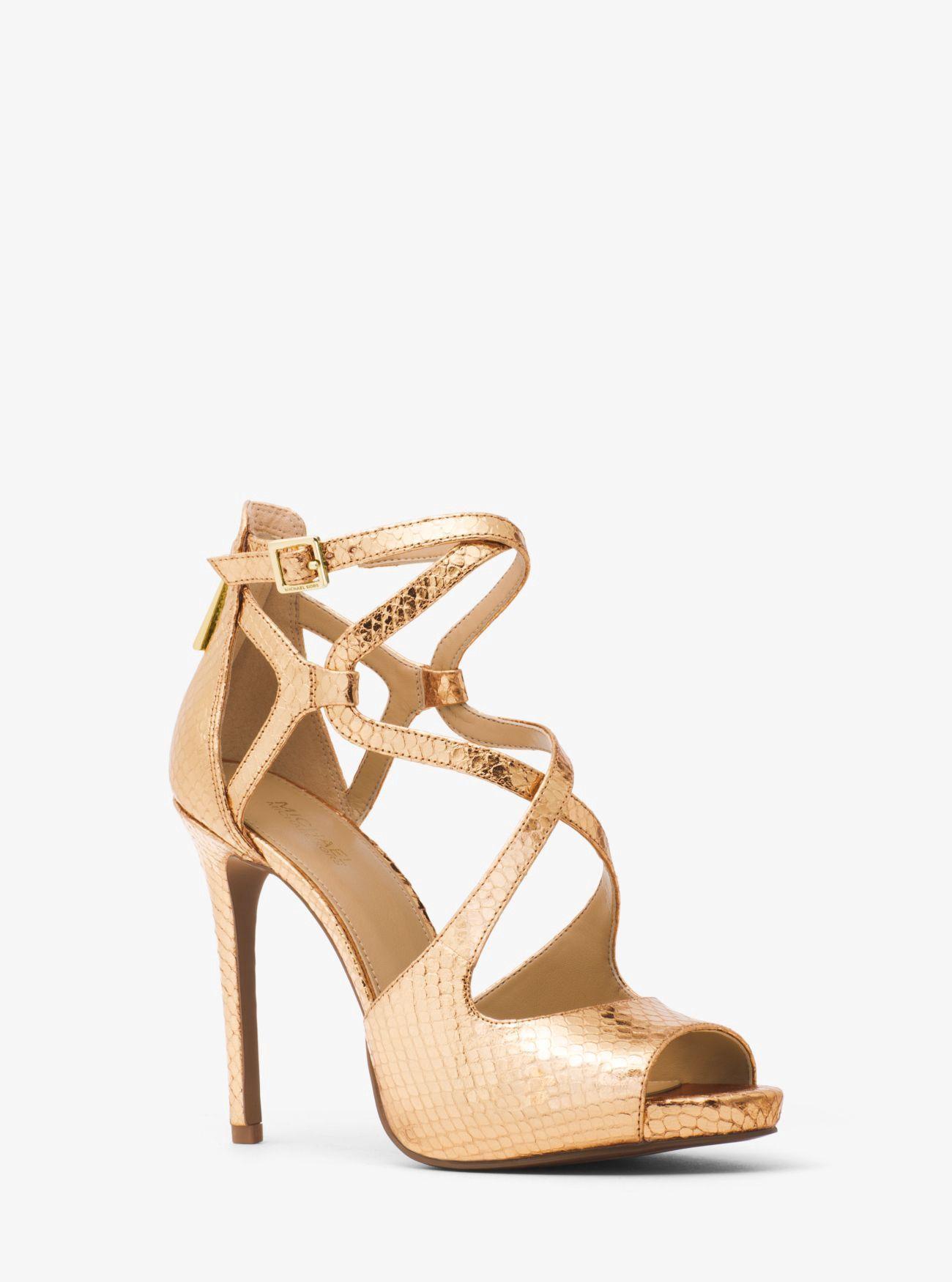 d21fbd7d2ca6 MICHAEL KORS Catia Metallic Embossed-Leather Sandal.  michaelkors  shoes