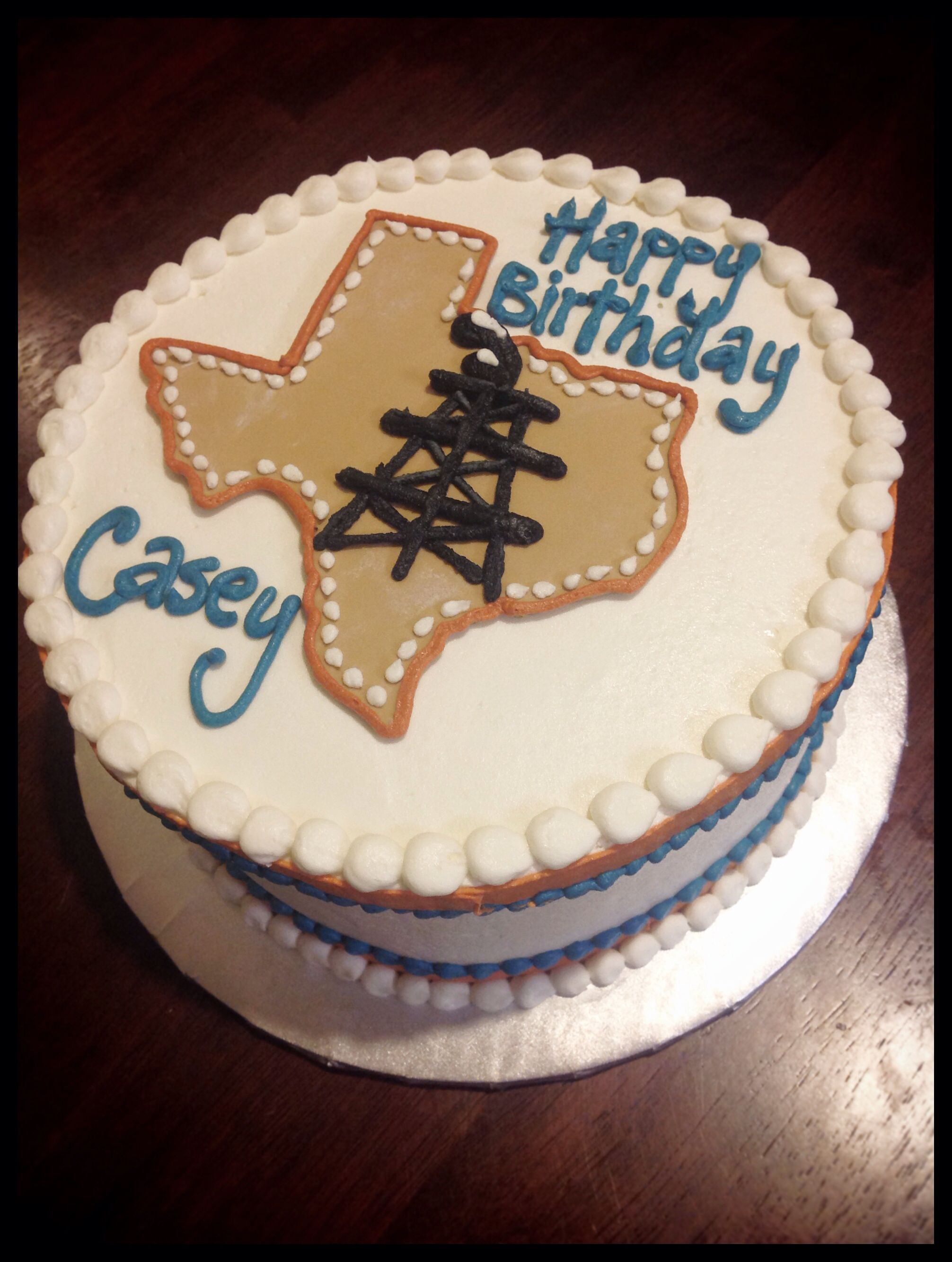 Vanilla Birthday Cake Texas Oilfield Decorated Buttercream