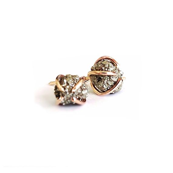 Mineral Pyrite Rose Gold Stud Earrings - Valentine's Day, Raw Pyrite Stud  Earrings - Druzy