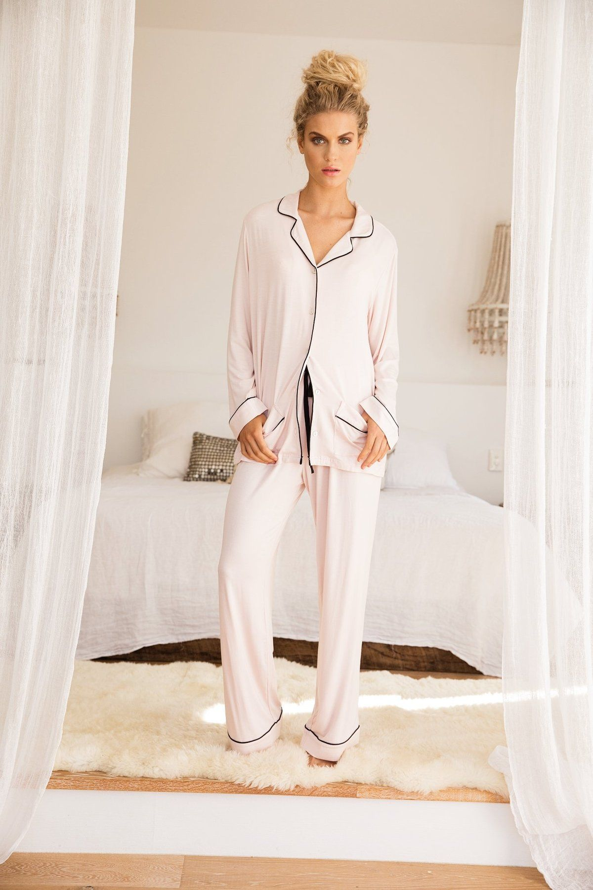 e9829ff2e38 The Abigail Long PJ Set in blush pink features black piping details along  the top collar and pockets