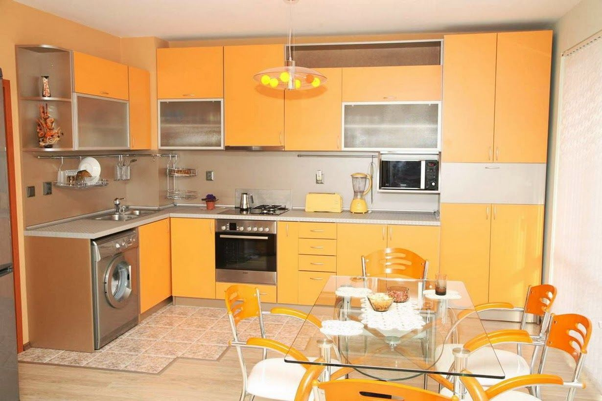 Nice Yellow And Orange Kitchen Ideas Part - 4: Stylish Orange Kitchen Designs For A Lighter Look : Chic Modern LShaped  Kitchen Decoration With Light