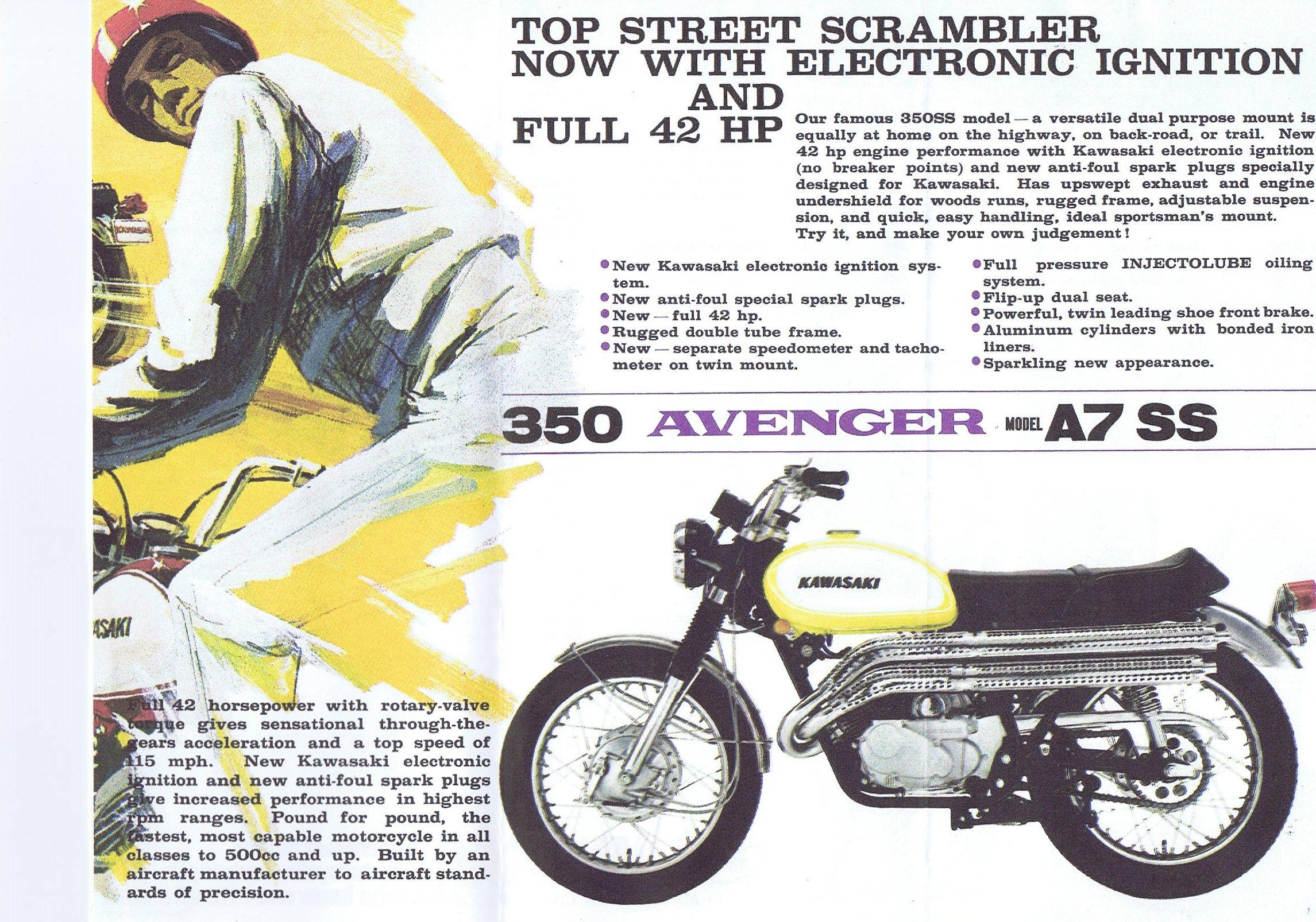 1968 Kawasaki 350 Avenger A7 A7 SS 2 stroke brochure USA 03