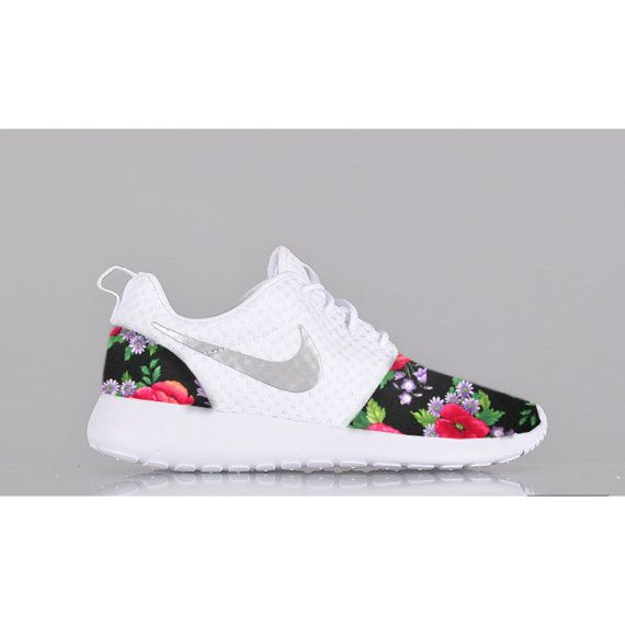 196bdf31c80 New Nike Roshe Run Custom Red Green Black White Floral Edition Womens Shoes  Sizes 5 -