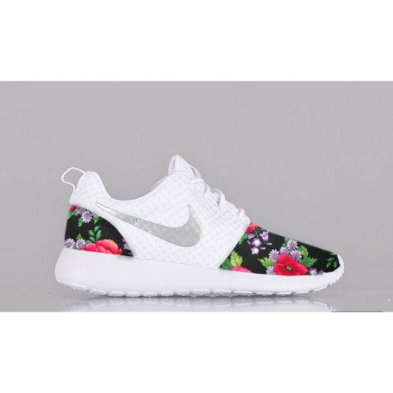 New Nike Roshe Run Custom Red Green Black White Floral Edition Womens Shoes Sizes 5 - 12