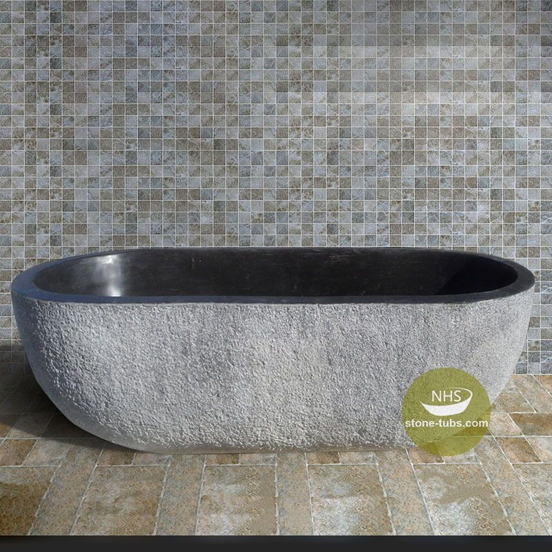 Black Granite Bathtub With Gray Rough Surface Is Best Idea For
