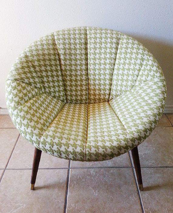 Retro- Mid Century Modern- Saucer Chair- Lime Green & Cream Houndstooth- MCM