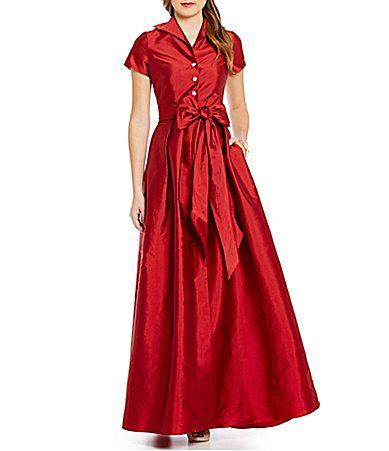 Adrianna Papell Petite Point Collar Taffeta Ball Gown Dillards