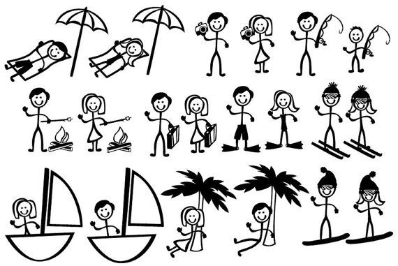 Stick Figure People Family Vacation Themed Vector Art Svg Etsy Stick Figure Drawing Stick Figures Stick Drawings