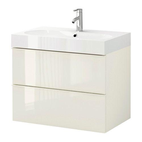 GODMORGON / BRÅVIKEN Servantskap med 2 skuffer - høyglans hvit - IKEA