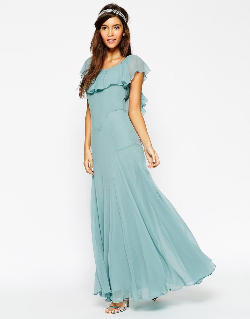 Image 1 of ASOS WEDDING Maxi Dress With Soft Frill And Seam Detail ...