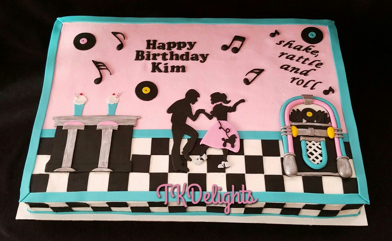 50s Themed Sheet Cake White With Raspberry Buttercream Filling Buuercream Icing Hand Cut Fondant Decorations