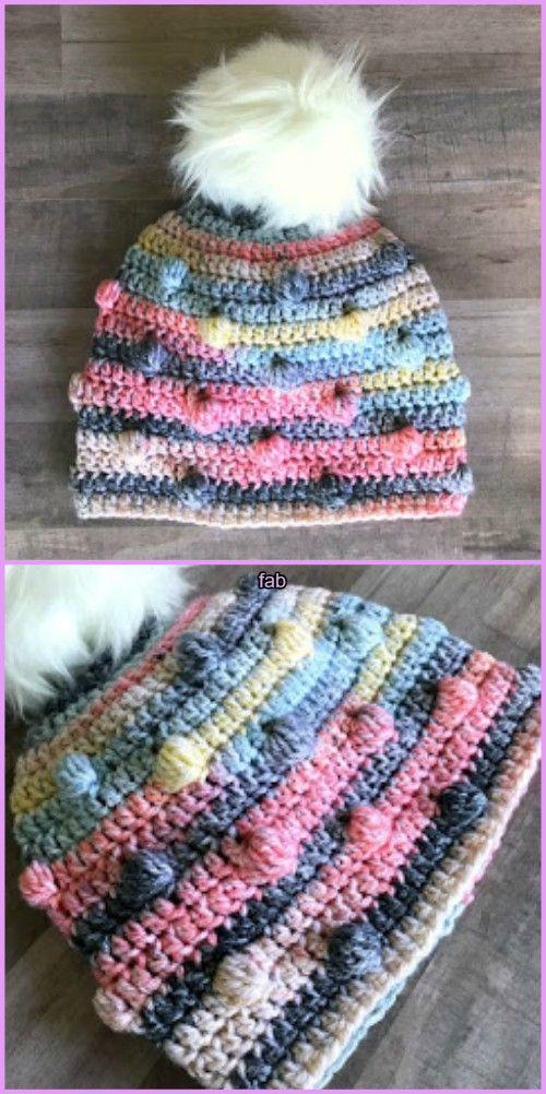 Crochet Bobble Hat Free Patterns | Mütze, Gehäkelte mützen und Häkeln