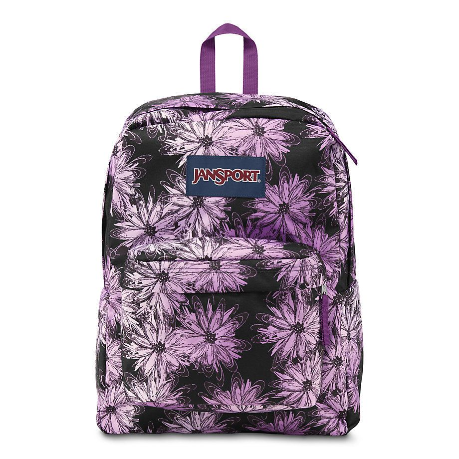 Jansport Big Student Backpack School Bag Multi Purple Flower Daisy