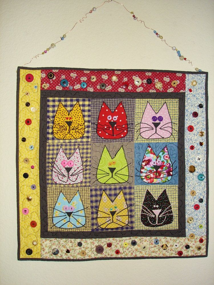 Quilted Cats Wall Hanging 45 00 Via Etsy Quilts