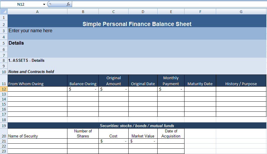 Simple Personal Finance Balance Sheet Template  Exceldox  Excel