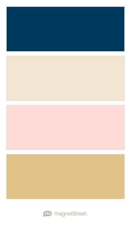 Navy champagne rose gold and gold wedding color palette Colors that go with rose pink