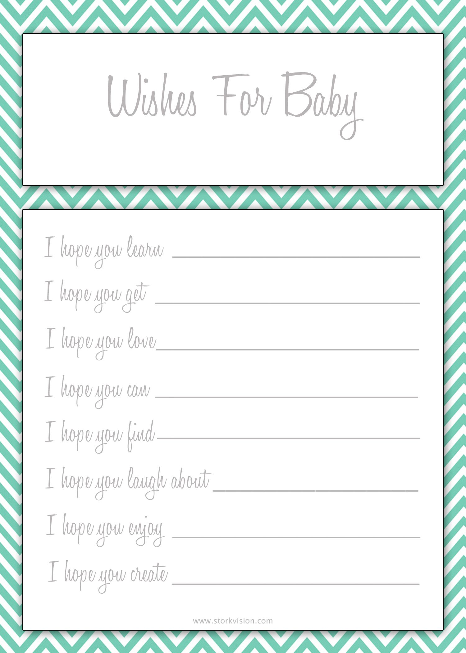 Wishes For Baby Printable For Baby Shower Keep Them For